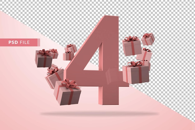 Pink number 4 a birthday concept with gift boxes in 3d render