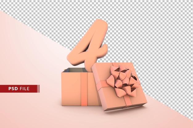 ピンクのギフトボックス3d分離でお誕生日おめでとうのピンク番号4