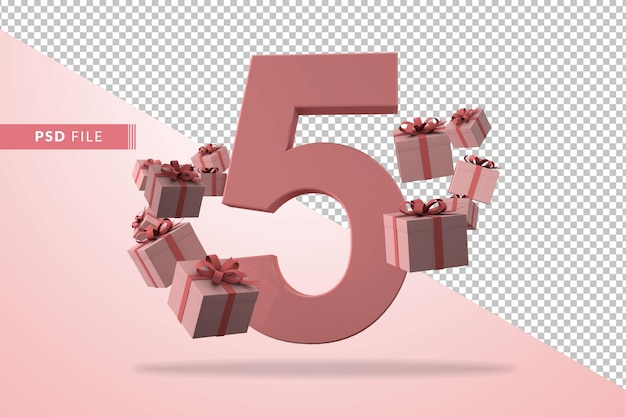 Розовый номер 5 на день рождения с подарочными коробками в 3d-рендере