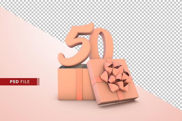Розовый номер 50 для с днем рождения с розовой подарочной коробке 3d изолированные