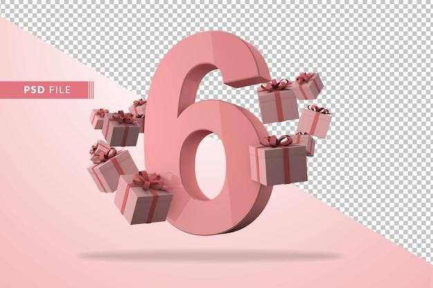 Розовый номер 6 на день рождения с подарочными коробками в 3d-рендере