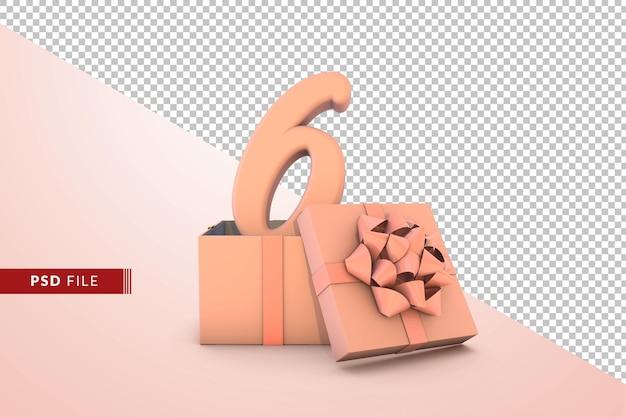 Розовый номер 6 для с днем рождения с розовой подарочной коробкой 3d изолированные