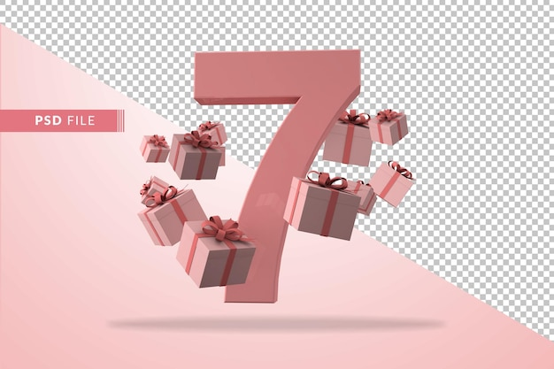 Pink number 7 a birthday concept with gift boxes in 3d render