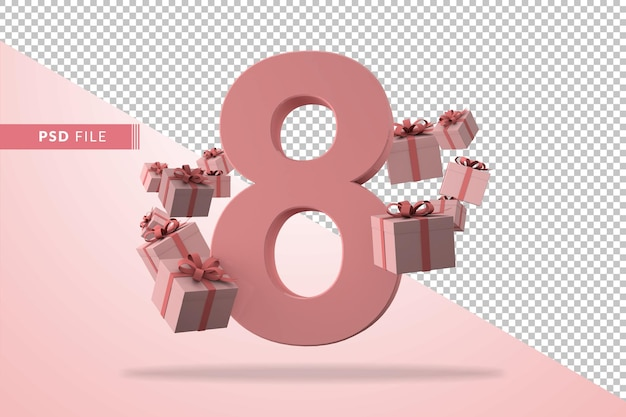 Pink number 8 a birthday concept with gift boxes in 3d render