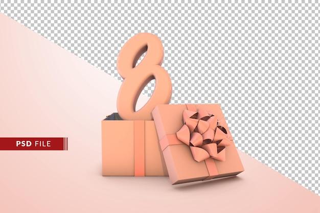 Розовый номер 8 для с днем рождения с розовой подарочной коробкой 3d изолированные