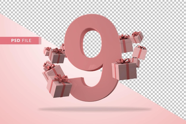 Pink number 9 a birthday concept with gift boxes in 3d render