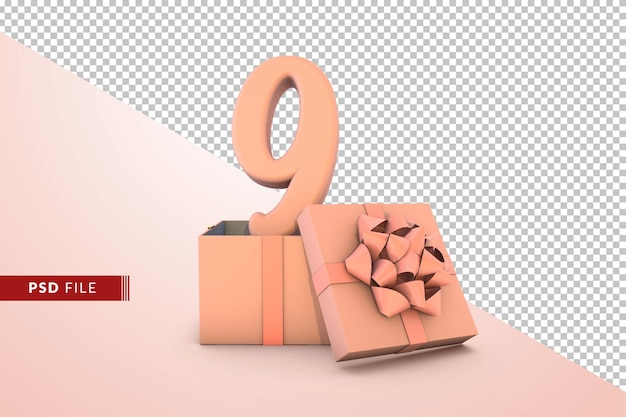 Розовый номер 9 для с днем рождения с розовой подарочной коробке 3d изолированные