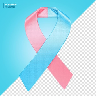 Pink october and blue november ribbon label 3d render for composition