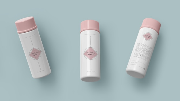 Pink packaging of cosmetic products
