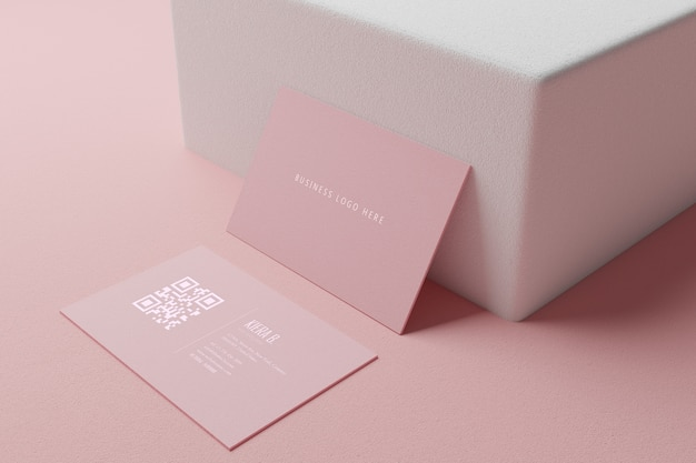 Pink pastel business card paper mockup template with blank space cover