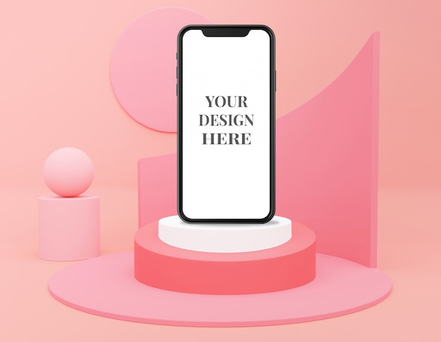 Pink pastel monochrome cosmetic for product and phone presentation
