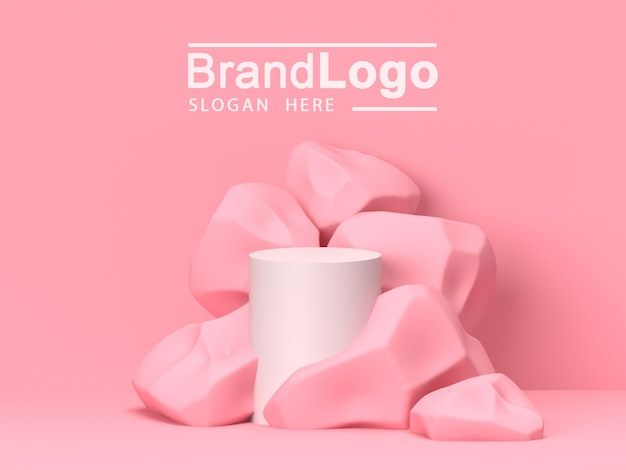 Pink pastel product stand on background. abstract minimal geometry concept.3d rendering
