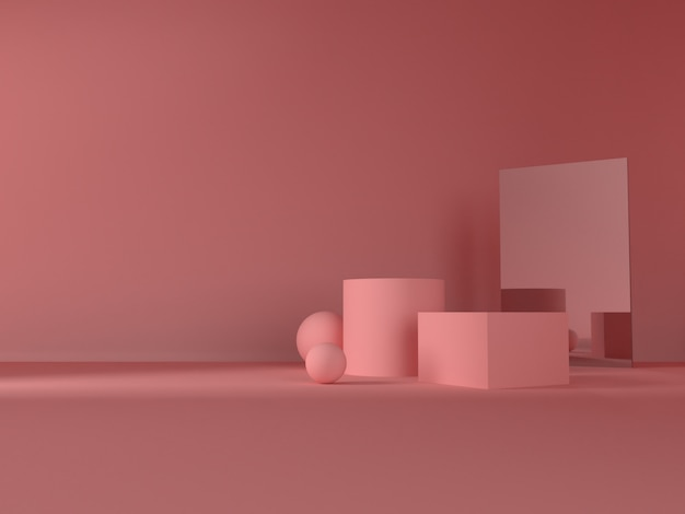 Pink pastel product stand on background. abstract minimal geometry concept