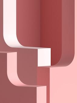 핑크 파스텔 제품 배경에 서있다. 추상 최소한의 기하학 concept.3d 렌더링