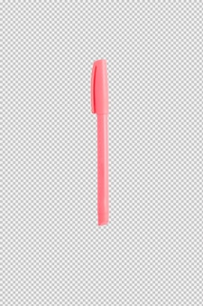 Pink pen isolated on white background