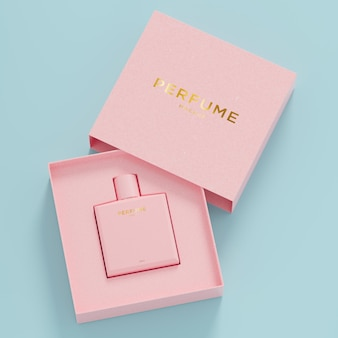 Розовый флакон духов розовая упаковка макет логотипа для фирменного стиля 3d визуализации