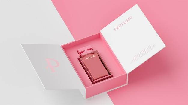 Макет белой упаковки розового флакона для презентации фирменного стиля 3d визуализации