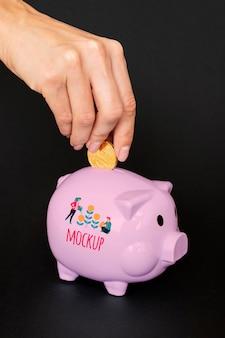 Pink piggy bank mock-up