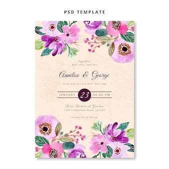Pink purple floral watercolor wedding invitation template