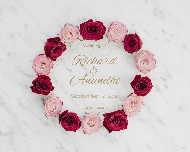 Pink and red roses save the date