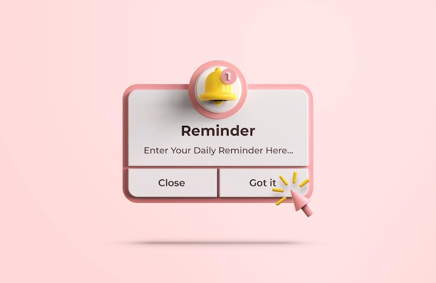 Promemoria rosa nel modello di progettazione 3d