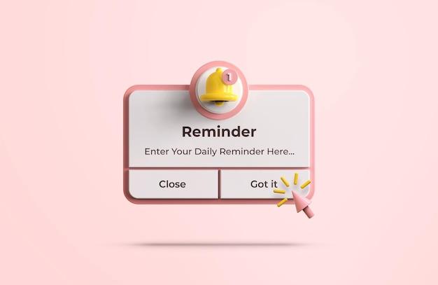 Розовое напоминание в 3d-макете дизайна