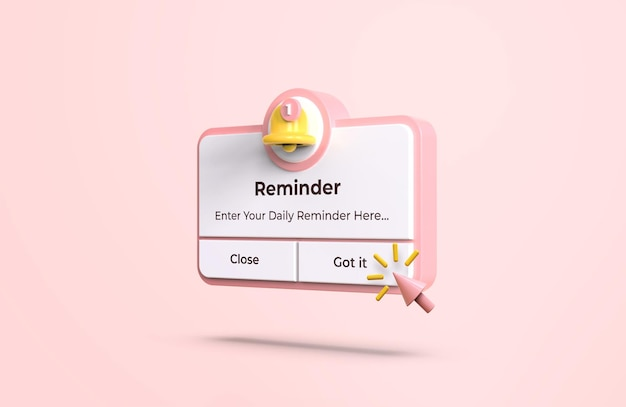 3d 디자인 모형의 핑크 알림 인터페이스
