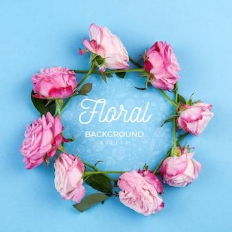 Pink roses framing mockup