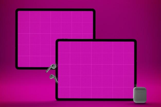 Розовый экран макет планшета