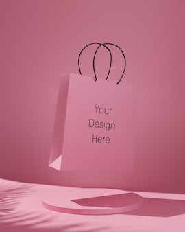 Pink shopping bag mockup with tropical trees shadow