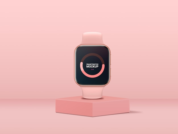Pink smartwatch mockup front view