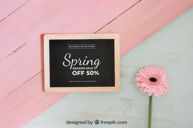 Pink spring concept mockup with slate