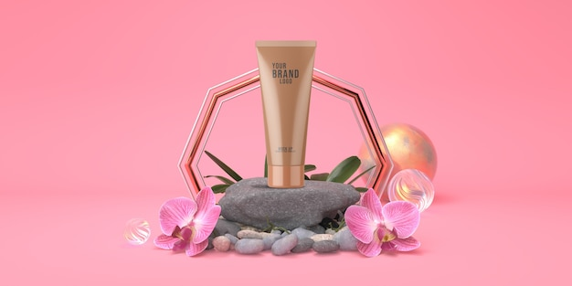 Pink studio with rock stage and orchid flowers cosmetic template pastel color 3d render