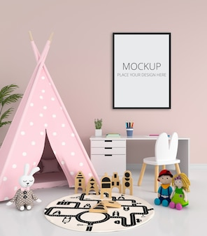 Pink teepee and desk in child room interior Premium Psd