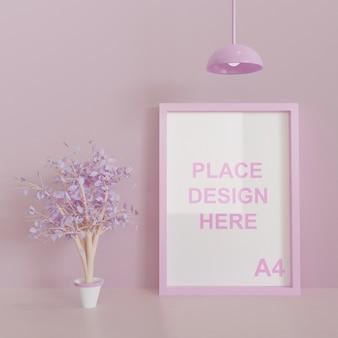ピンクのテーマの正方形のフレームのモックアップ