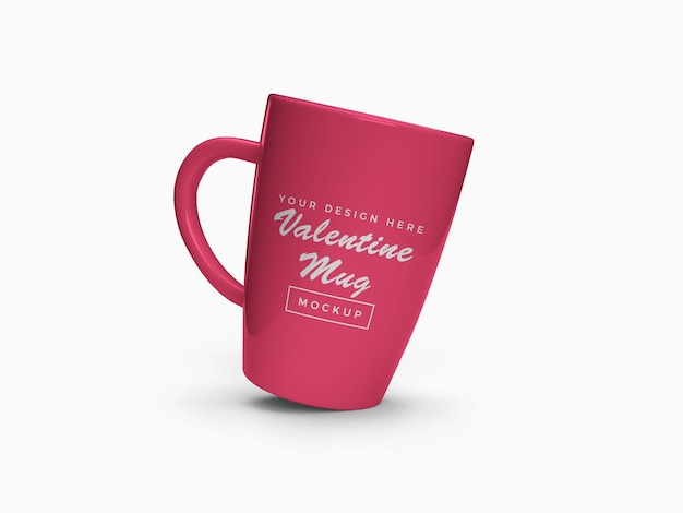 Pink valentine mug mockup design isolated