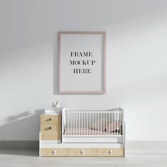 Макет розовой стены над детской кроваткой