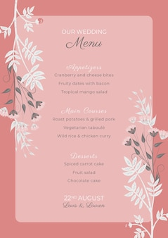 Pink wedding invitation template with flowers frame