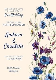 Pink wedding invitation with blue and purple flowers