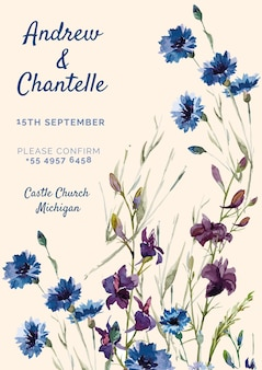 Pink wedding invitation with blue and purple painted flowers