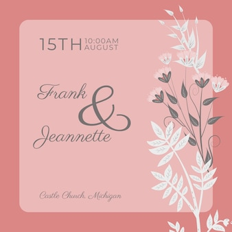 Pink wedding invitation with flowers template