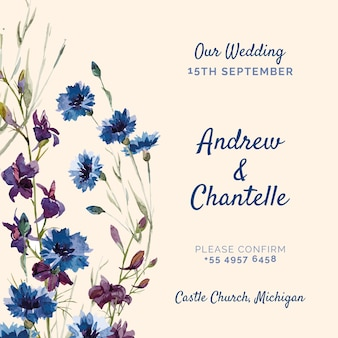 Pink wedding invitation with purple and blue painted flowers