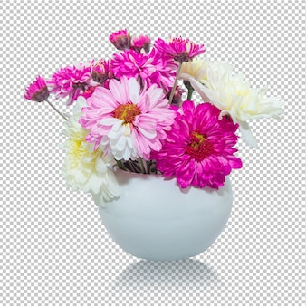 Pink and white chrysanthemum flowers in vase transparency .floral .