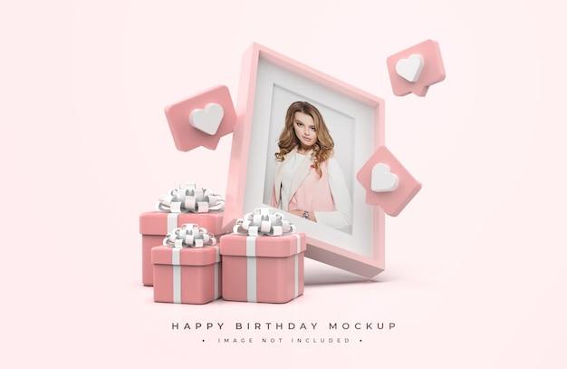 Mockup di buon compleanno rosa e bianco