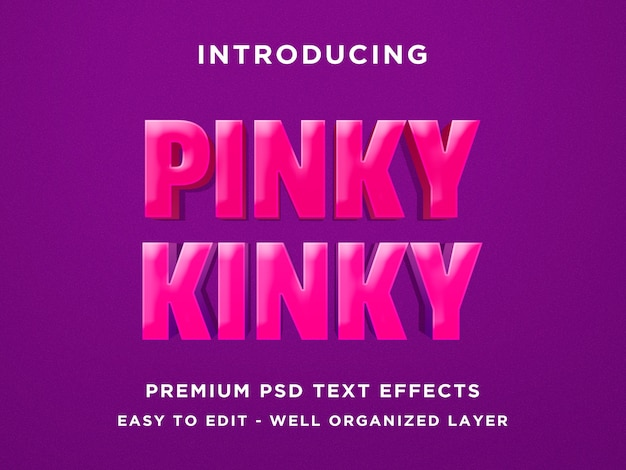Pinky kinky - 3d text effect psd template