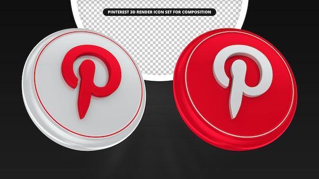 Значок pinterest 3d визуализации для композиции