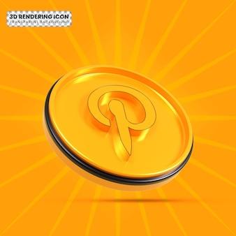 Pinterest 3d rendering icon
