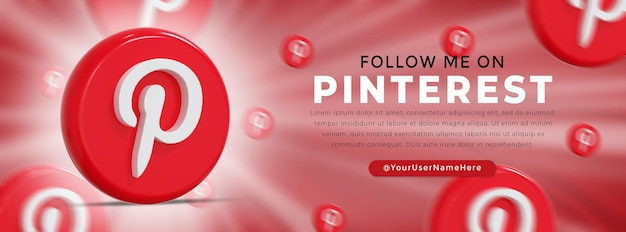 Pinterest glossy logo and social media icons web banner