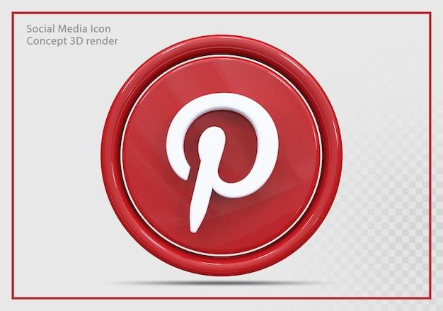 Pinterest 아이콘 3d 렌더링 현대