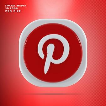 Pinterest 아이콘 3d 렌더링 모양